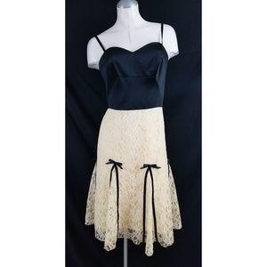 NWOT Moda International Size 4 Lace Satin Dress